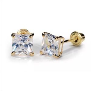 14K Pure Gold 6mm lab Created CZ Square Earrings